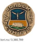 Купить «Значок с изображением герба города Вольска», фото № 3380789, снято 19 марта 2012 г. (c) Грачев Игорь / Фотобанк Лори