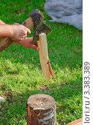 Купить «Рубка дров на растопку», фото № 3383389, снято 9 июля 2011 г. (c) Алёшина Оксана / Фотобанк Лори
