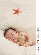 Новорождённый спящий ребёнок. Стоковое фото, фотограф Костырина Елена / Фотобанк Лори