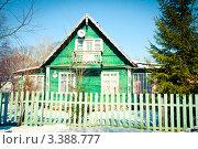 Зеленый деревянный загородный домик со спутниковой тарелкой в Сестрорецке (2012 год). Редакционное фото, фотограф Ольга Визави / Фотобанк Лори