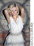 Купить «Портрет красивой девушки стоящей у стены с тенью от окна», фото № 3389469, снято 11 декабря 2011 г. (c) Литвяк Игорь / Фотобанк Лори