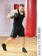 Купить «Боксер тренируется на боксерской груше», фото № 3389889, снято 27 марта 2012 г. (c) Дмитрий Калиновский / Фотобанк Лори