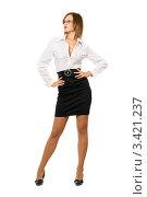 Купить «Красивая молодая женщина в очках, в белой блузке и черной юбке, белый фон», фото № 3421237, снято 7 сентября 2010 г. (c) Сергей Сухоруков / Фотобанк Лори