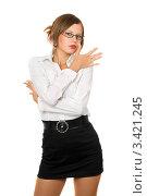 Купить «Привлекательная женщина в очках, в черной короткой юбке и белой блузке, белый фон», фото № 3421245, снято 7 сентября 2010 г. (c) Сергей Сухоруков / Фотобанк Лори