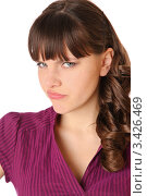 Купить «Портрет недовольной девушки в фиолетовой блузке, белый фон», фото № 3426469, снято 1 апреля 2012 г. (c) Павел Кужелев / Фотобанк Лори