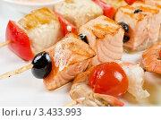 Купить «Шашлык из лосося и креветок с помидорами», фото № 3433993, снято 6 июля 2011 г. (c) Jan Jack Russo Media / Фотобанк Лори