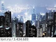 Купить «Вид сверху на ночной Гонконг», фото № 3434689, снято 12 февраля 2011 г. (c) Iakov Kalinin / Фотобанк Лори