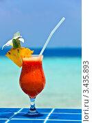 Купить «Фруктовый коктейль на пляже», фото № 3435893, снято 19 марта 2019 г. (c) М / Фотобанк Лори