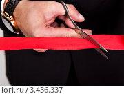 Купить «Руки человека, перерезающего красную ленточку», фото № 3436337, снято 13 ноября 2010 г. (c) Андрей Попов / Фотобанк Лори