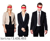 Купить «Трое деловых людей с завязанными красной лентой глазами», фото № 3436493, снято 13 ноября 2010 г. (c) Андрей Попов / Фотобанк Лори
