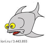 Векторный силуэт рыбы на белом фоне. Стоковая иллюстрация, иллюстратор Сергей Яковлев / Фотобанк Лори