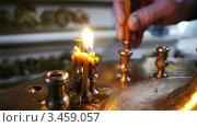 Купить «Свеча в церкви», видеоролик № 3459057, снято 14 апреля 2012 г. (c) Павел С. / Фотобанк Лори