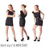 Три красивые блондинки в черном сексуальном платье стоят в полный рост изолированная на белом фоне. Стоковое фото, фотограф Симон Герреро Ушаков / Фотобанк Лори
