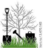 Купить «Лопата и лейка возле дерева в саду», иллюстрация № 3470145 (c) Любовь Назарова / Фотобанк Лори