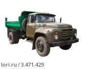 Купить «Старый советский грузовик с зеленым кузовом на белом фоне», фото № 3471429, снято 23 апреля 2012 г. (c) Яков Филимонов / Фотобанк Лори