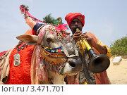 Купить «Наряженный буйвол и индус в красном тюрбане на пляже Кандолим. Гоа», эксклюзивное фото № 3471701, снято 18 апреля 2012 г. (c) Яна Королёва / Фотобанк Лори