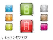 Купить «Разноцветные кнопки с батареей питания, изолировано на белом фоне», иллюстрация № 3473713 (c) Лагутин Сергей / Фотобанк Лори