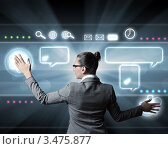 Купить «Деловая женщина работает на виртуальной клавиатуре», фото № 3475877, снято 13 июля 2020 г. (c) Sergey Nivens / Фотобанк Лори