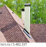 Купить «Фрагмент крыши дома на фоне зелёного леса», эксклюзивное фото № 3482337, снято 1 мая 2012 г. (c) Игорь Низов / Фотобанк Лори