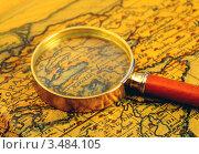 Купить «Старинная карта и лупа», фото № 3484105, снято 4 марта 2011 г. (c) ElenArt / Фотобанк Лори