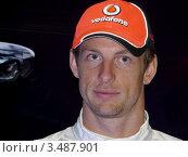 "Дженсон Баттон. Чемпион мира 2009 года в классе ""Формула 1"" (2011 год). Редакционное фото, фотограф Marina Butirskaya / Фотобанк Лори"