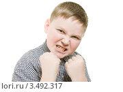 Агрессивный мальчик показывает кулаки. Стоковое фото, фотограф Степанов Григорий / Фотобанк Лори