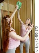 Купить «Беременная женщина полирует большое зеркало», фото № 3495873, снято 10 марта 2012 г. (c) Михаил Иванов / Фотобанк Лори