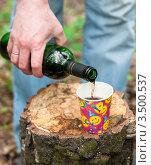 Купить «Мужская рука наливает вино из бутылки в бумажный стакан», эксклюзивное фото № 3500537, снято 7 мая 2012 г. (c) Игорь Низов / Фотобанк Лори
