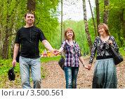 Купить «Счастливая семья. Мама папа и дочь идут по лесу.», эксклюзивное фото № 3500561, снято 7 мая 2012 г. (c) Игорь Низов / Фотобанк Лори