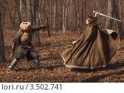 Купить «Два воина сражаются в лесу», фото № 3502741, снято 18 марта 2012 г. (c) Евгения Литовченко / Фотобанк Лори