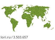 Купить «Карта мира из травы», иллюстрация № 3503657 (c) Евгения Малахова / Фотобанк Лори