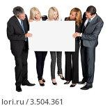 Купить «Деловая команда с баннером», фото № 3504361, снято 11 сентября 2011 г. (c) Андрей Попов / Фотобанк Лори