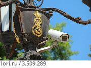 Купить «Камера видеонаблюдения на фонарном столбе с деокративной заглавной буквой Е имени императрицы Екатерины II», фото № 3509289, снято 11 мая 2012 г. (c) Юлия Ухина / Фотобанк Лори