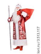 Купить «Дед Мороз с мешком подарков стоит на белом фоне», фото № 3513117, снято 28 ноября 2010 г. (c) Сергей Сухоруков / Фотобанк Лори