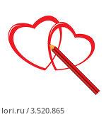 Карандаш рисует сердечки. Стоковая иллюстрация, иллюстратор Dvarg / Фотобанк Лори