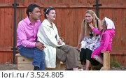 Купить «Взрослые и дети во дворе частного дома», видеоролик № 3524805, снято 20 июня 2008 г. (c) Losevsky Pavel / Фотобанк Лори