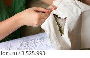Купить «Женщина вышивает крестом», видеоролик № 3525993, снято 3 мая 2012 г. (c) Игорь Жоров / Фотобанк Лори