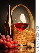 Композиция с бокалом красного вина, корзиной и виноградом. Стоковое фото, фотограф Виктор Топорков / Фотобанк Лори