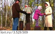 Купить «Дедушка, мама и дети играют в осеннем парке», видеоролик № 3529509, снято 2 ноября 2008 г. (c) Losevsky Pavel / Фотобанк Лори