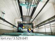Купить «Мужчины в строительных касках работают в шахте лифта», фото № 3529641, снято 19 марта 2012 г. (c) Дмитрий Калиновский / Фотобанк Лори