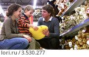 Купить «Родители выбирают мягкую игрушку сыну», видеоролик № 3530277, снято 17 ноября 2008 г. (c) Losevsky Pavel / Фотобанк Лори