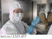 Купить «Лаборант в защитной одежде ведет исследования в радиоактивной лаборатории», фото № 3531417, снято 23 апреля 2012 г. (c) Игорь Уманский / Фотобанк Лори