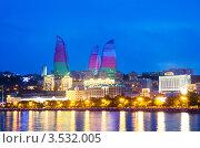 Купить «Побережье Каспийского моря ночью, Баку, Азербайджан», фото № 3532005, снято 1 января 2010 г. (c) Elnur / Фотобанк Лори