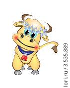 Смешная корова на белом фоне, иллюстрация. Стоковая иллюстрация, иллюстратор Dvarg / Фотобанк Лори