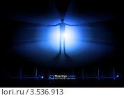 Свет в конце тоннеля, силуэт человека в синих лучах и кардиограмма. Стоковая иллюстрация, иллюстратор Dvarg / Фотобанк Лори
