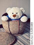 Мягкий игрушечный мишка выглядывает из плетеной корзины. Стоковое фото, фотограф Елена Шуршилина / Фотобанк Лори