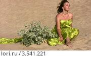 Купить «Девушка в золотистом покрывале сидит на пляже», видеоролик № 3541221, снято 15 августа 2009 г. (c) Losevsky Pavel / Фотобанк Лори