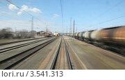 Купить «Поезд отправляется со станции», видеоролик № 3541313, снято 21 августа 2009 г. (c) Losevsky Pavel / Фотобанк Лори