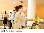 Купить «Девушки в столовой», фото № 3542557, снято 6 апреля 2012 г. (c) CandyBox Images / Фотобанк Лори