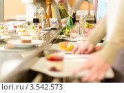 Купить «Шведский стол в кафе», фото № 3542573, снято 6 апреля 2012 г. (c) CandyBox Images / Фотобанк Лори